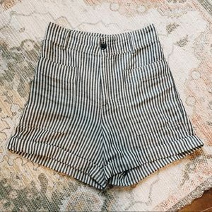 super high waisted striped shorts